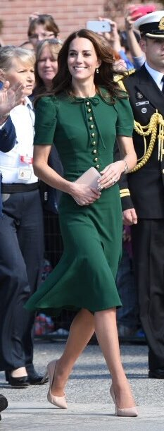 Dolce & Gabbana green puff sleeve midi dress