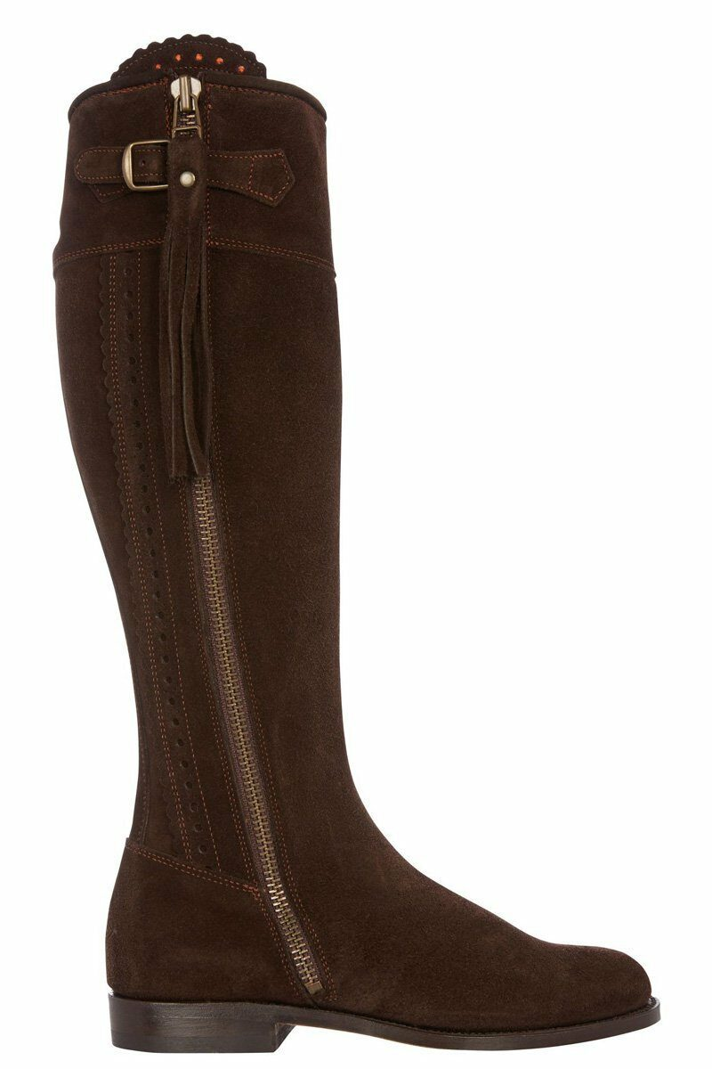 Really Wild Spanish suede boots in chocolate