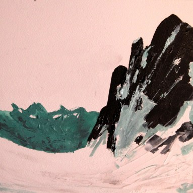 Bob, View from Camp Schurman (in progress), Acrylic on board, 12 x 12 in.
