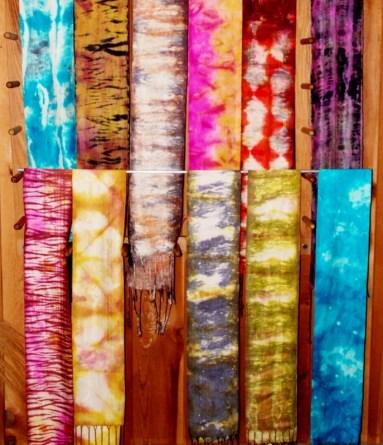 Scarves, dyed woven silk, Spetemeber 2012.