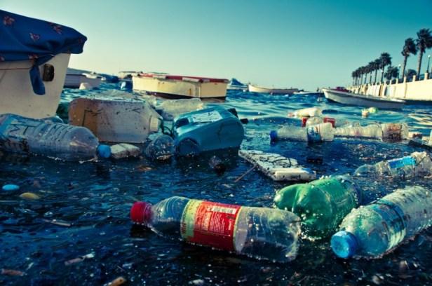 Détritus flottant dans l'eau de la Méditerranée