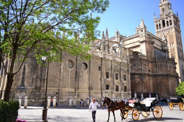 A Séville, entre la cathédrale et l'Alcazar, le coeur de la ville touristique.