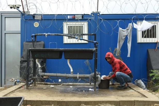 Robinet d'eau froide à Kelebia, près de Subotica, contre la frontière hongroise