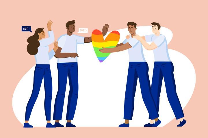 Ilustración sobre grupos de odio contra la población LGBTI. Freepik para Reportar sin Miedo