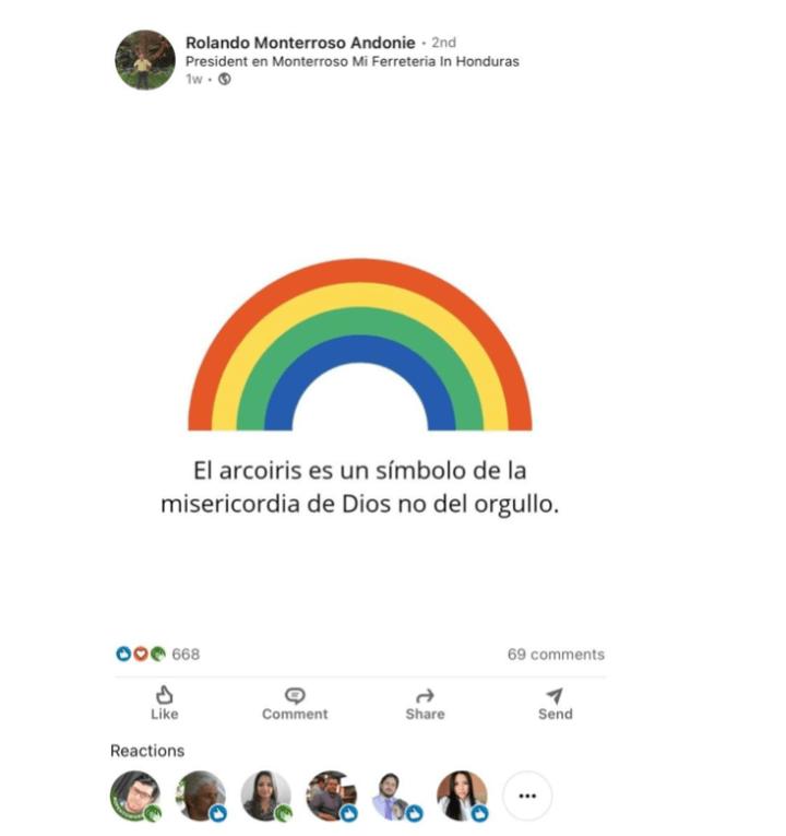 Captura de pantalla de la publicación original de Rolando Monterroso Andonie en LinkedIn.
