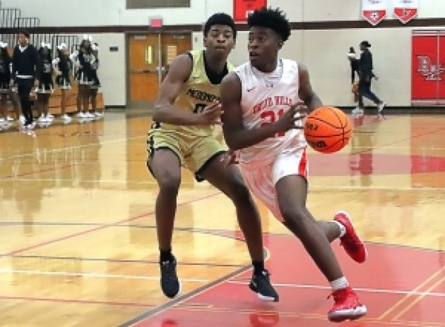 Druid Hills' Jaden Lingo (21) drives past McDonough's Davian Thompson (0) during second half action on Tuesday. (Photo by Mark Brock)