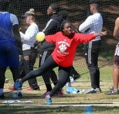 "2019 GHSA Shot Put gold medalist Janae Profit of Dunwoody is eying the gold in the discus this spring after her tops in the U.S. throw of 157'-09"". (Photo courtesy of GA Milesplit)"
