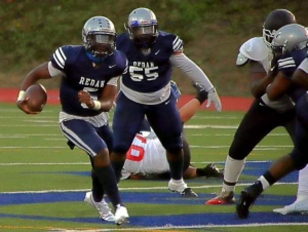 Redan quarterback Antoine Hector (5) and lineman Brandon Lester (55) put their undefeated record on the line against No. 1 ranked Cedar Grove in a 7:00 pm kickoff on Thursday at Hallford Stadium. (Photo by Mark Brock)