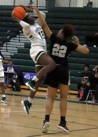 Arabia Mountain's Makayla Jamison (12) goes up for a basket against Miller Grove's Trinity Coleman (22) in the Lady Rams win to stay undefeated. (Photo by Mark Brock)