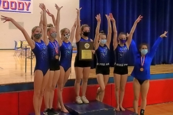 The Chamblee Lady Bulldogs won the program's first ever DCSD Gymnastics County Championship on Tuesday. (Photo by Mark Brock)