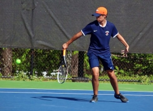 Dunwoody's Mark Romano won  a 6-2, 7-6 battle at No. 2 singles over Denmark's Noah Cohen for a 2-1 Dunwoody lead before the Wildcats fell 3-2 in the first round of the Class 7A state playoffs. (Photo by Mark Brock)