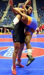 Stone Mountain's Daisy Gilleylen competes in the GHSA Traditional Wrestling State Tournament. (Courtesy Photo)