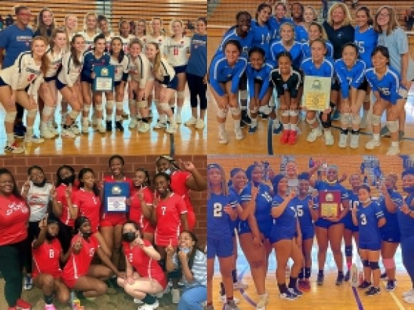 Pool winners of the 7th Annual DCSD Spikefest Volleyball Tournament were (clockwise from top left) Dunwoody, Chamblee, McNair and Redan.