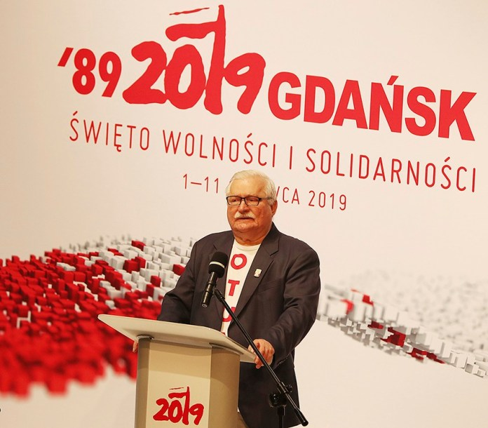 Poland's former president and Solidarity democracy movement founder Lech Walesa calls for a new plan for Europe and the world in the 21st century, during celebrations of 30th anniversary of elections that ousted communists from power in Poland and started a chain reaction in the region,, in Gdansk, Poland, Tuesday, June 4, 2019.(AP Photo/Czarek Sokolowski)