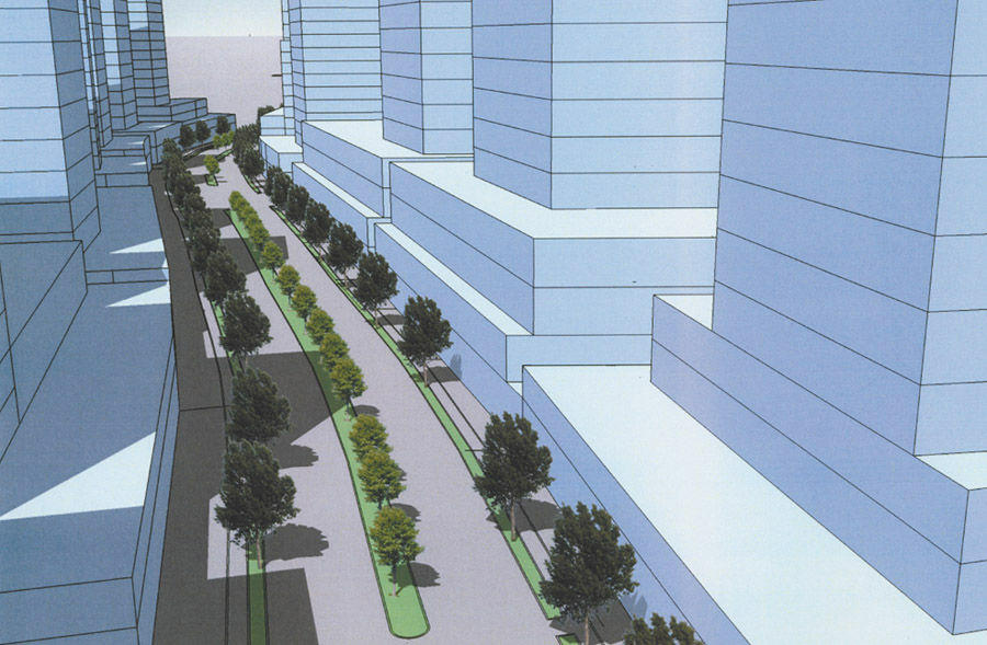 The illustration above shows how Peachtree Road in Brookwood could look.
