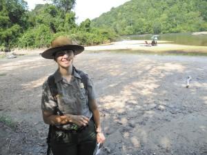Park Ranger Larisa Nachman at the East Palisades unit of the CRNSA