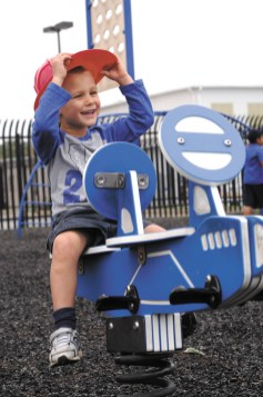 Brookhaven resident Rylan Simmons, 3, gets in some flying lessons a little closer to the ground.