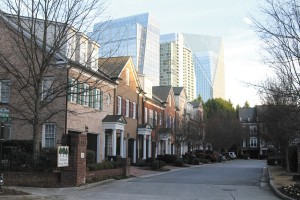 Buckhead Forest homes share their skyline with high-rise buildings. The neighborhood has seen an influx of residents who are tired of long commutes from the suburbs.
