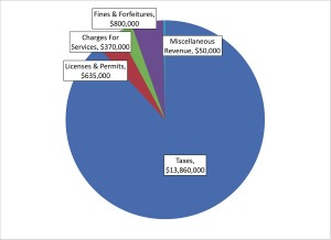 A pie chart illustrates the revenue sources that will generate the money the city of Brookhaven will need to operate in its first year. The budget, introduced by Mayor J. Max Davis, must be approved by the City Council. Revenues are expected to increase in 2014.