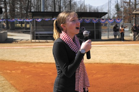 Kinsey Farmer sings the national anthem on March 9, opening day for Sandy Springs Youth Sports at Morgan Falls Park in Sandy Springs.