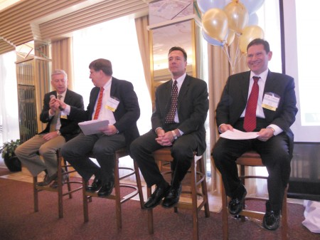 At the Perimeter Business Alliance's March meeting, held at Cox Enterprises headquarters, (from left) Gerard White of Clearwave Corp., David A Spotts of AutoTrader.com, Tino Mantella of Technology Association of Georgia and David Dabbiere of AirWatch discuss the explosive growth in high-tech industries.