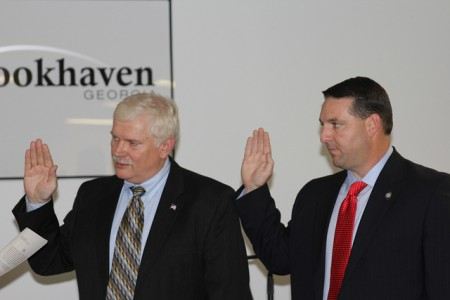 Broohkaven Police Chief Gary Yandura, left, and Deputy Police Chief Ron Freeman were sworn in to office April 23.