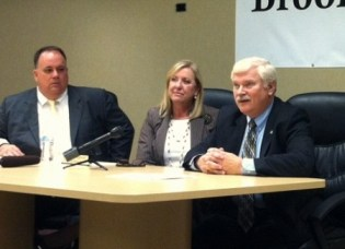 From left: Brookhaven Mayor J. Max Davis and City Manager Marie Garrett introduce Police Chief Gary Yandura at a press conference April 2.