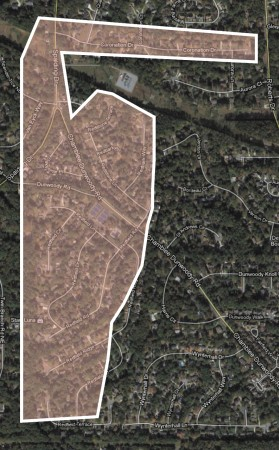 """The Redfield subdivision straddles Chamblee-Dunwoody Road in Dunwoody and takes in a dozen streets, according to a map shown on the Redfield Swim & Tennis club's website. The neighborhood contains 11 winding streets starting with """"Red"""" and Coronation Drive, according to the map."""