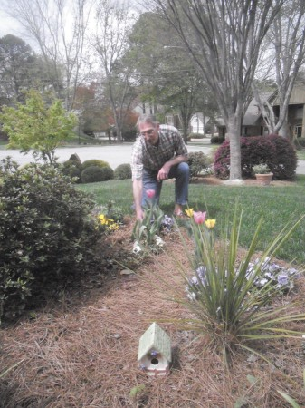 Jan Phillips at his home in the Redfield community in Dunwoody. He won the neighborhood association's Yard of the Month award.