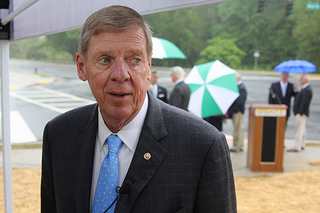 Sen. Isakson speaks to reporters after a press event on 4.29.2013 Photo by: Dan Whisenhunt