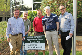Members of the Walking Brandon Mill Coalition. From left to right: Chad Plumly, Cortne Pappas, Tom Hayes, John Schneider and Dan Berger.
