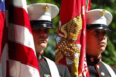 United States Marine Corps Color Guard Sergeant Brown and Sergeant Scott presented the United States and U.S. Marine Corps flags during the Memorial Day ceremony May 27 at Brook Run Park in Dunwoody.