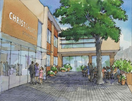 ChristChurch Presbyterian is planning to build a new, modern building on Peachtree Street. This rendering shows the courtyard view.