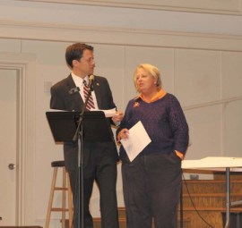 Sen. Jason Carter, D-Decatur, and Rep. Mary Margaret Oliver, D-Decatur, answer questions from the audience.