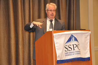 State Attorney General Sam Olens speaks to the Sandy Springs/Perimeter Chamber of Commerce on May 20.