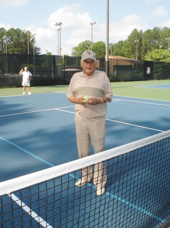 Ted Gregory, 87, gave up tennis two years ago, after a blood clot developed in his left foot.