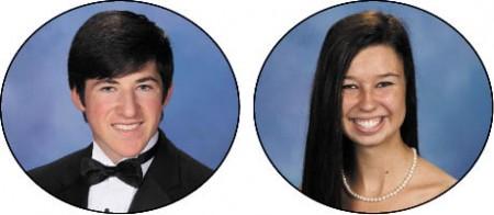 David Spratte, left, Valedictorian, U of North Carolina Barbara Anne Kozee, Salutatorian, Georgetown University