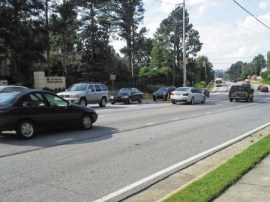 Jan Rabinowitz Cars waiting to turn left onto Glenridge from southbound Roswell Road. Sandy Springs resident Jan Rabinowitz says on a typical day, between 5-7 p.m., traffic is at a standstill in this area. She hopes City Council and the mayor take notice when discussing road improvements.