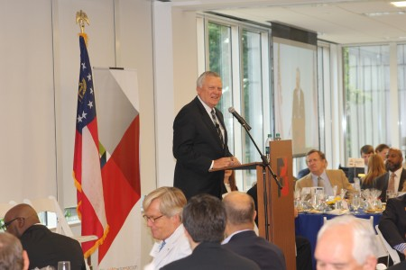 Gov. Nathan Deal speaks to the Sandy Springs/Perimeter Chamber of Commerce on July 9, 2013.