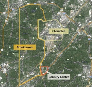Century Center, located just off I-85 at Clairmont Road in unincorporated DeKalb County, has requested annexation into Brookhaven, but the city of Chamblee says not so fast.