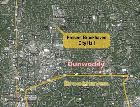 This map shows the location of Brookhaven's temporary City Hall, located in the city of Dunwoody. City officials are looking for a more permanent space to lease within Brookhaven's borders.