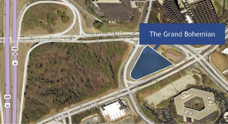 A luxury hotel, planned for an area near Peachtree-Dunwoody Road, Mount Vernon Highway and Abernathy Road in Sandy Springs, has been on hold since before 2009.