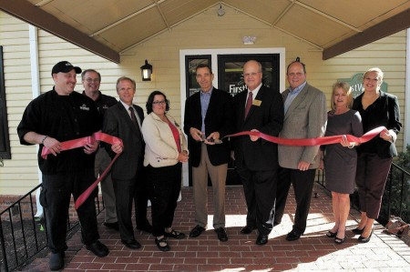 The Dunwoody Chamber of Commerce hosted a ribbon cutting on Sept. 30 at First Watch Restaurant, which specializes in breakfast, brunch and lunch. Joining in the festivities, from left, Steve Ratner, general manager, Kelly Clark, district manager, Doug Thompson and Lynn Deutsch, Dunwoody City Council members, Kenneth Pendery Jr., president and CEO, Terry Nall, City Council, Don Boyken, chamber board chairman, Beth Summers, chamber executive director and Katie Bishop, CVBD, executive director. The restaurant is located at 1317 Dunwoody Village Parkway.