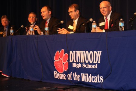 Left to right, Dunwoody City Council candidates Henley Shelton, Denis Shortal, William A.J. Mercier, Jim Riticher and Heyward Wescott appear at a candidates forum Oct. 17 at Dunwoody High School.