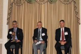 From left, Chuck Altimari, vice president of UPS, Louis Miller, general aviation manager for Hartsfield-Jackson International Airport and Griff Lynch, chief operating officer of the Georgia Ports Authority, respond during a panel discussion at the Perimeter Business Association's Sept. 20 meeting.