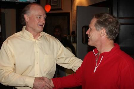 Lindsay Ballow, left, congratulates Doug Thompson, right, on Thompson's re-election Nov. 5.