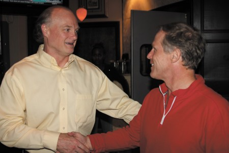 Lindsay Ballow, left, congratulates Councilman Doug Thompson on his re-election in District 3, Post 3.