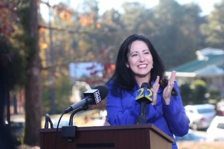 Former DeKalb County Board of Education member Nancy Jester announced her candidacy for Georgia school superintendent at Brook Run Park in Dunwoody Nov. 11