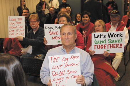 Dunwoody resident Robert Moss showed his fervent support for leaving the current dog park at Brook Run alone during the City Countil meeting on Nov. 12.