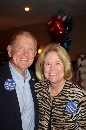 Dunwoody City Councilman Denny Shortal and his wife, Meredy Shortal, after his re-election Nov. 5.
